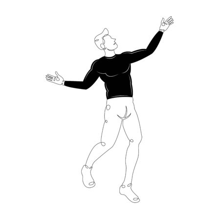 Young fashion man in a black sweater and tight pants.Character cartoon flat isolated colored drawing sketch continuous line minimalism illustration
