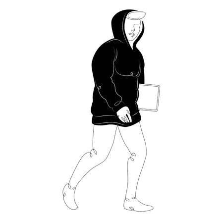Young man in a black hoodie with a hood and a tablet in his hands.Character cartoon flat isolated colored drawing sketch continuous line minimalism illustration