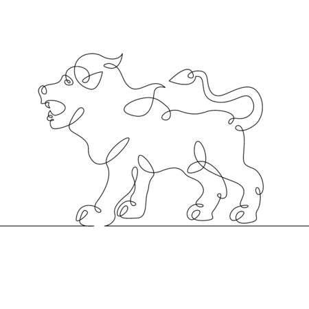 One continuous single drawn line art doodle icon zodiac, astrology, calendar, sign, horoscope, astrological, constellation, zodiacal, mystic. Isolated image hand drawn outline. Leo, July, August
