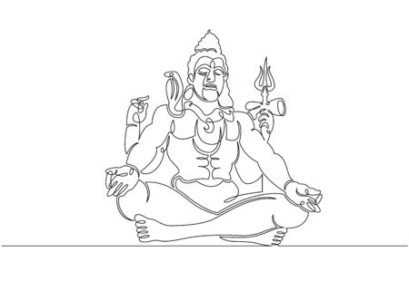 One continuous single drawn line art doodle spirituality happy Shiva indian culture .Isolated image of a hand drawn outline on a white background. 스톡 콘텐츠