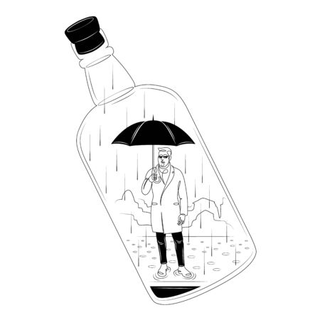 Man in a coat with a black umbrella. Rain in a wine bottle.Character cartoon flat isolated colored drawing sketch continuous line minimalism illustration