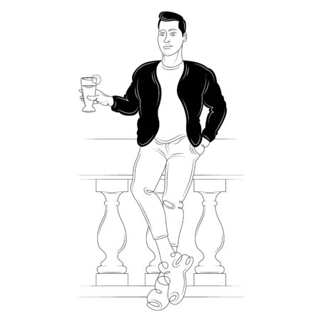 Young brunette man in a black jacket with a glass of cocktail. Character cartoon flat isolated colored drawing sketch continuous line minimalism illustration
