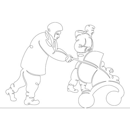 One continuous drawing line Muslim migrant family with pram.Single hand drawn art line doodle outline isolated minima illustration cartoon character flat