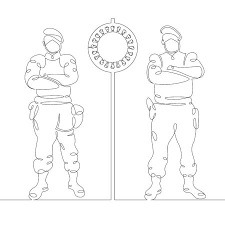 One continuous drawing linesecurity military control, roadblock, checkpoint. Military in gas masks. Symbol of coronavirus .Virus pandemic. Single hand drawn art line doodle outline isolated minimal illustration cartoon character flat