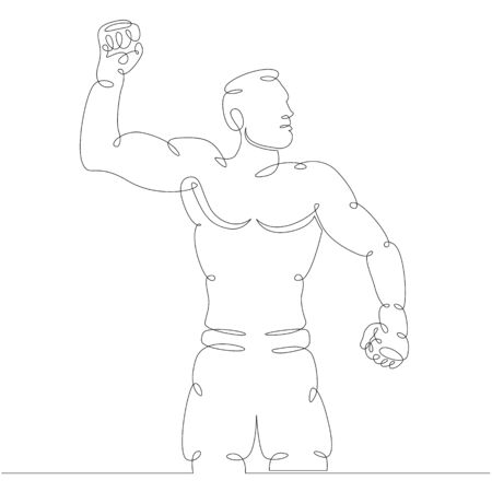 One continuous drawing line Athlete Boxer fighter with gloved hand, celebrates victory. Fights without rules . Mixed martial art combat sport fighting.Single hand drawn art line doodle outline isolated minimal illustration cartoon character flat
