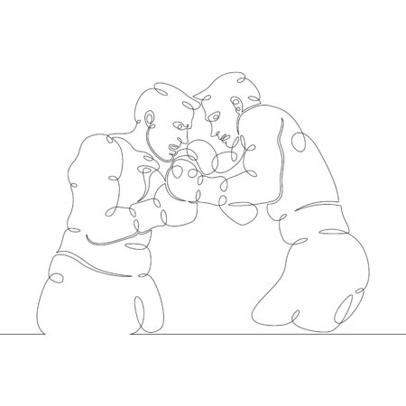 One continuous drawing line Contact duel of athletes of boxing fighters, clinch. Fights without rules.Mixed martial art  combat sport fighting.Single hand drawn art line doodle outline isolated minimal  illustration cartoon character flat