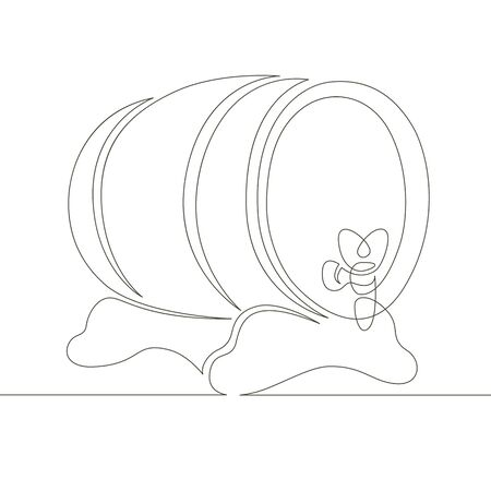 One continuous single drawn line art doodle wooden oak beer barrel, with a tap