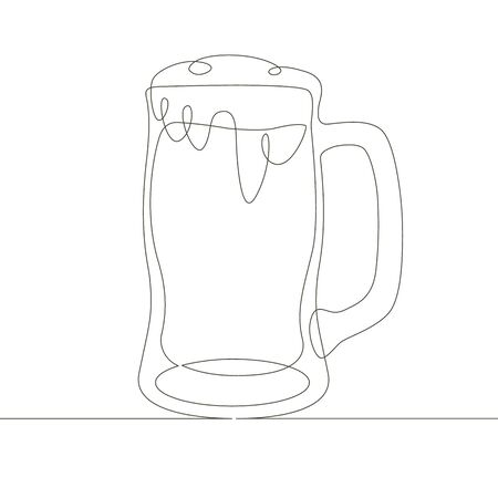 One continuous single drawn line art doodle beer, alcohol, cup, glass, drink, full, lager, mug, pub
