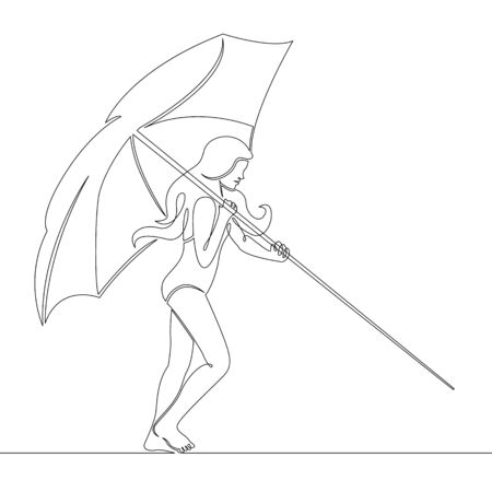 One continuous single drawn line art doodle girl carries a beach umbrella  . Isolated image  hand drawn outline  white background. Summer sea sun beach.