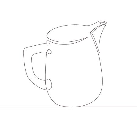 One continuous single drawn line art doodle milk, drink, dairy, jug, creamer, cream, food . Isolated image hand drawn