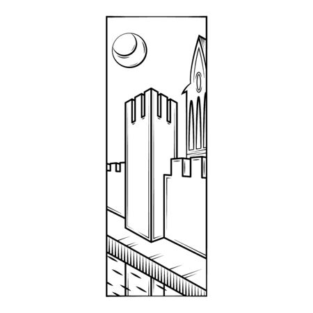 Fortress wall tower, protective moat, reflection in the water. Moonlight night.Flat minimal linework hand drawing icon illustration . Stock fotó - 144843613