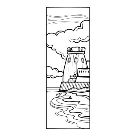 Fortress tower on the seashore, against the background of clouds. Stone breakwater.Flat minimal linework hand drawing icon illustration . Illusztráció