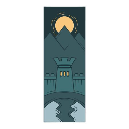 Fortress wall tower, protective moat, reflection in the water. Moonlight night.Flat minimal linework hand drawing icon illustration . Ilustrace
