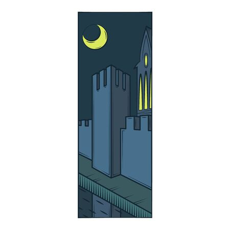 Fortress wall tower, protective moat, reflection in the water. Moonlight night.Flat minimal linework hand drawing icon illustration .