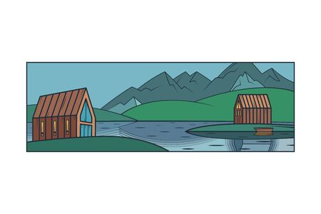 Scandinavian northern mountain landscape. Modern country house. Island house, lake.Flat minimal linework hand drawing icon illustration . Pastel color vertical logo.  イラスト・ベクター素材