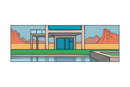 Modern country house, panoramic windows,pool. Landscape Utah Arizona Desert Canyon.Mountains on the horizon.Flat minimal linework hand drawing icon illustration . Pastel color vertical logo.