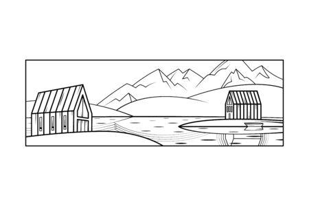 Scandinavian northern mountain landscape. Modern country house. Island house, lake.Flat minimal linework hand drawing icon illustration . Black linear contour vertical logo.