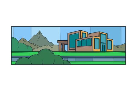 Mountain landscape. Modern country house, panoramic windows. Lawn bushes.Flat minimal linework hand drawing icon illustration . Pastel color vertical logo. Illustration