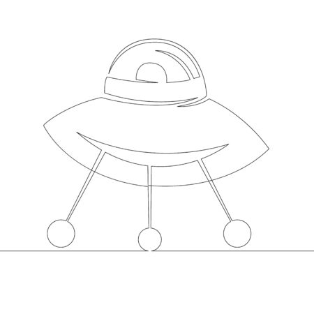 One continuous line drawing minimal hand UFO with the released chassis .Single hand drawn art line doodle outline isolated.