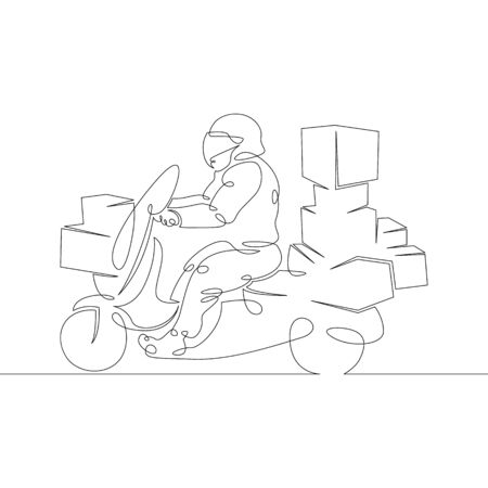 One continuous line drawing minimal hand courier with packages on a motorcycle scooter .Single hand drawn art line doodle outline isolated.