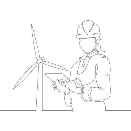One continuous line drawing minimal female engineer with a tablet in a helmet against the background of a wind power station, clean renewable energy,windmill.Single hand drawn art line doodle outline isolated.