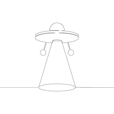One continuous line drawing minimal hand UFO flying in the sky, shining a beam to the ground  .Single hand drawn art line doodle outline isolated. 向量圖像