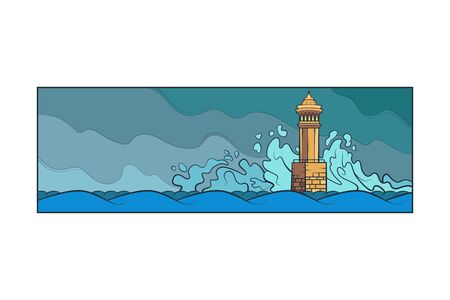 Stone lighthouse tower. Big sea waves beat against the rocks. Bad weather at sea.Flat minimal linework hand drawing landscape panorama illustration.Pastel color vertical line