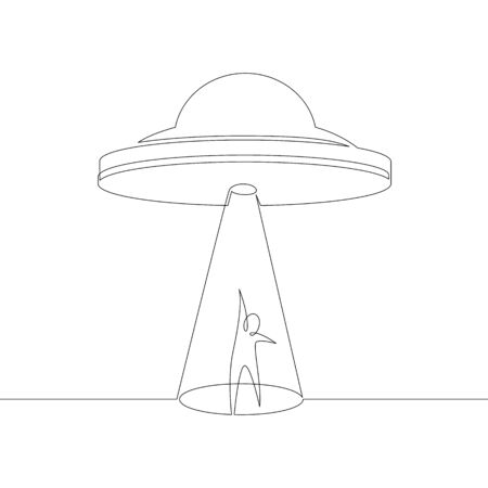 One continuous line drawing minimal hand UFO flying in the sky, attracts ray silhouette of a man .Single hand drawn art line doodle outline isolated. 向量圖像