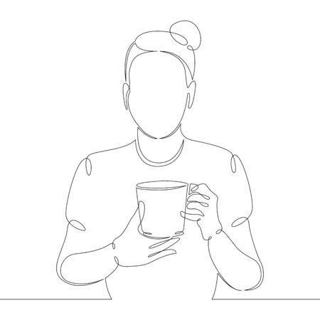 One continuous drawing line Young girl drinks hot coffee, take away hot drink.Single hand drawn art line doodle outline isolated minimal illustration cartoon character flat