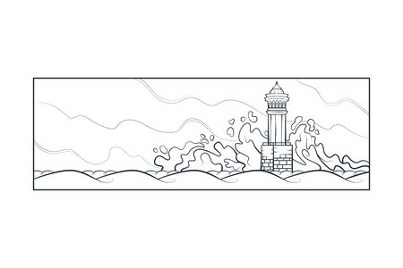 Stone lighthouse tower. Big sea waves beat against the rocks. Bad weather at sea.Flat minimal linework hand drawing  landscape panorama illustration.Pastel color vertical line  .Black linear contour vertical  .