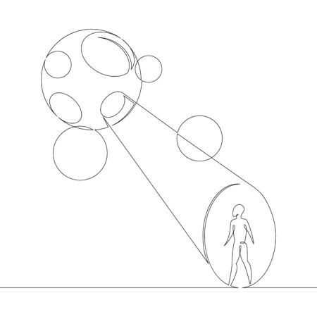One continuous line drawing minimal hand UFO flying in the sky, attracts ray silhouette of a man .Single hand drawn art line doodle outline isolated. Ilustracja