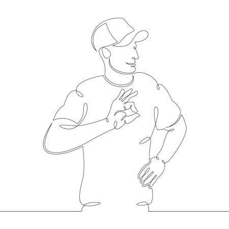 One continuous drawing line young man in a baseball cap with hand shows ok .Single hand drawn art line doodle outline isolated minimal illustration cartoon character flat  イラスト・ベクター素材