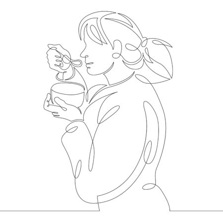 One continuous drawing line woman eating breakfast from a bowl.Single hand drawn art line doodle outline isolated minimal illustration cartoon character flat