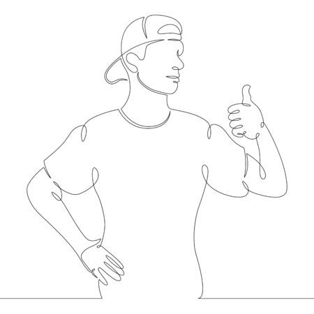 One continuous drawing line young man in a baseball cap shows thumb up .Single hand drawn art line doodle outline isolated minimal illustration cartoon character flat