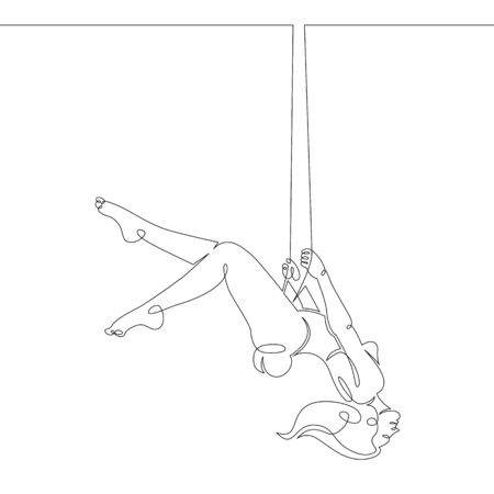 One continuous drawing line girl with long hair swinging on teeterboard swing .Single hand drawn art line doodle outline isolated minimal illustration cartoon character flat