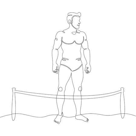 One continuous drawing line man tans, relaxing on the beach during a coronavirus pandemic, fenced beach.Single hand drawn art line doodle outline isolated minimal illustration cartoon character flat