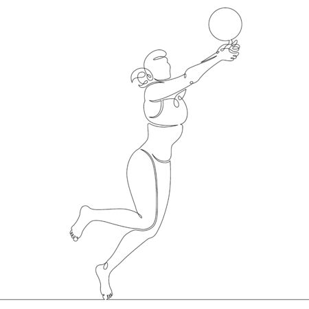One continuous drawing line girl female character athlete playing beach volleyball .Single hand drawn art line doodle outline isolated minimal illustration cartoon character flat Illustration