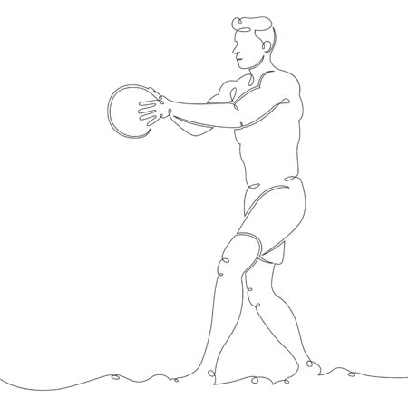 One continuous drawing line male character beach volleyball player .Single hand drawn art line doodle outline isolated minimal illustration cartoon character flat