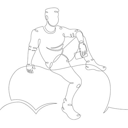 One continuous drawing line thinker sitting on a stone. Young man meditates with a phone .Single hand drawn art line doodle outline isolated minimal illustration cartoon character flat