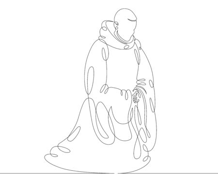 One continuous drawing line catholic monk in a cassock with a hood praying on his knees .Single hand drawn art line doodle outline isolated minimal illustration cartoon character flat