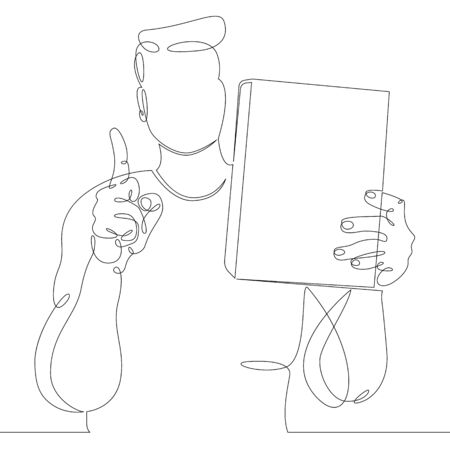 One continuous drawing line man with a book in his hands. Raised index finger up  .Single hand drawn art line doodle outline isolated minimal illustration cartoon character flat