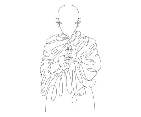 One continuous drawing line Buddhist monk holds a lighted candle in his hand .Single hand drawn art line doodle outline isolated minimal illustration cartoon character flat Çizim