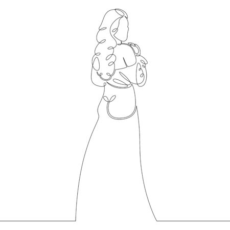 One continuous drawing line girl after sleep in the morning in a tunic .Single hand drawn art line doodle outline isolated minimal illustration cartoon character flat