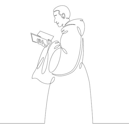 One continuous drawing line catholic monk in cassock reads bible .Single hand drawn art line doodle outline isolated minimal illustration cartoon character flat