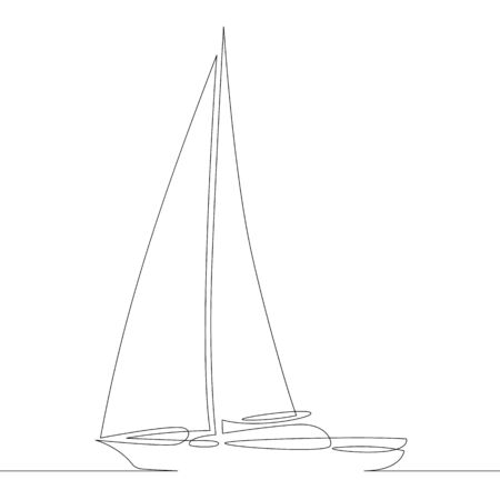 One continuous drawing line side view of a sailing yacht boat ship sailboat .Single hand drawn art line doodle outline isolated minimal illustration cartoon character flat