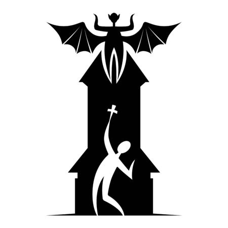 Silhouette character contour flat minimal cartoon humor satire  stickman illustration priest with a crucifix on the background of the chapel, a vampire with spread wings on the roof of the church