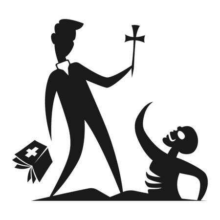 Silhouette character contour flat minimal cartoon humor satire  stickman illustration a priest with a crucifix and a bible is trying to illuminate a cemetery coming to life from a tomb of a zombie