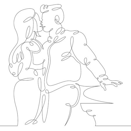 One continuous drawing line beautiful kiss of a couple in love . Single hand drawn art line doodle outline isolated minimal illustration cartoon character flat