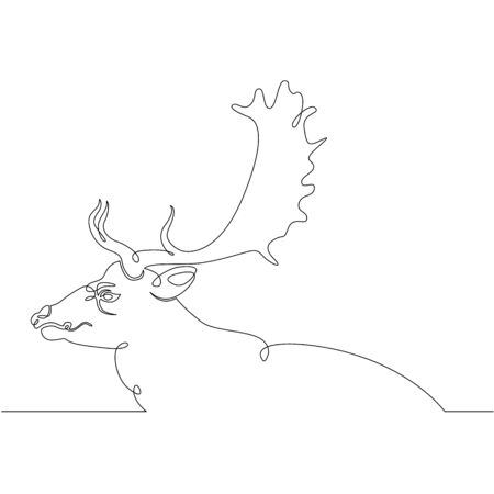 One continuous drawing line portrait head wild deer, elk, roe deer .Single hand drawn art line doodle outline isolated minimal illustration cartoon character flat Ilustracja