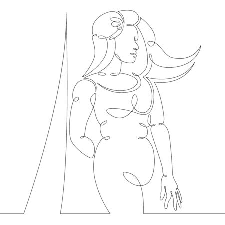 One continuous drawing line portrait of a beautiful woman with her long hair .Single hand drawn art line doodle outline isolated minimal illustration cartoon character flat
